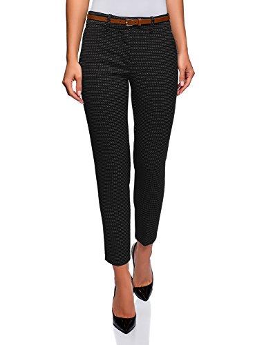 oodji Collection Mujer Pantalones Clásicos con Pinzas, Negro, ES 38 / S