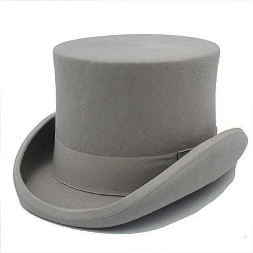FengHe Moda Moda Buena Apariencia Steampunk Sombrerero Enojado Sombrero de Copa Victoriano Vintage Lana Tradicional Sombrero Sombrero de Cilindro Sombrero de Chimenea Olla Fresca
