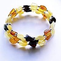 Un joli cadeau pour ceux qui aiment et portent de l'ambre naturel. La belle palette de couleurs chaudes jaunes à brunes  Toujours chaud ambre, vous pouvez porter toute l'année  La longueur de ce bracelet est jusqu'à 60cm. Fabriqué sur le fil de la mé...