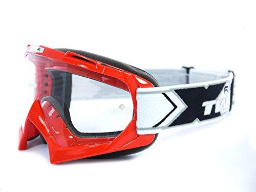 TWO-X Race Crossbrille MX Brille rot Motocross Enduro Klarglas Motorradbrille Anti Scratch MX Schutzbrille