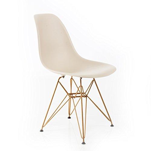 Design Guild Banks Stuhl mit goldfarbenen Beinen, Schwarz beige - Design Guild