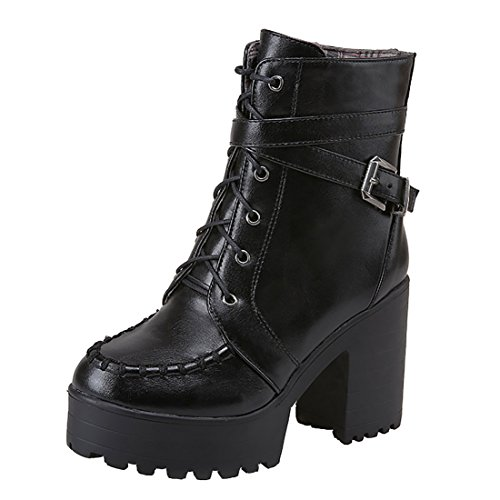 Noir Boucles UH Mode Bottines Moyenne en Confortables Femmes Rétro et avec Chaud Fourrure Simple Lacets Talons Blocs aanBrZx5