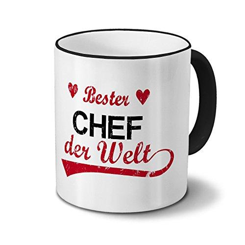Tasse mit Namen Bester Chef der Welt - Motiv Textart-Layout 3 - Namenstasse, Kaffeebecher, Mug, Becher, Kaffeetasse - Farbe Schwarz
