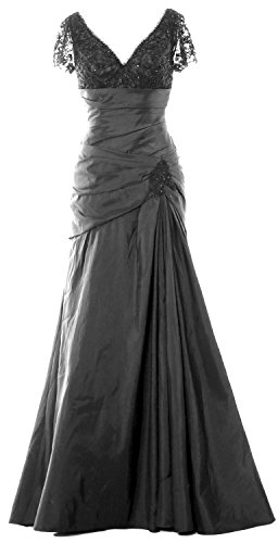 MACloth Women Cap Sleeves V Neck Lace Long Mother of Bride Dress Evening Gown gray