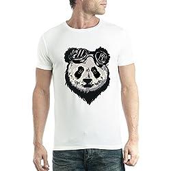 avocadoWEAR Panda Oso Gafas Hombre Camiseta Blanco M