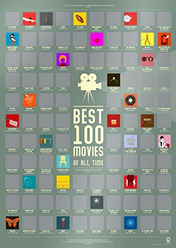 Travel Revealer Poster mit 100 Filmen zum Abkratzen von Best Films of All Time Bucket Liste, 43,2 x 61 cm, minimalistisches Design von britischem Künstler Jeder Film Icon ist einzigartig. (Film-liste)
