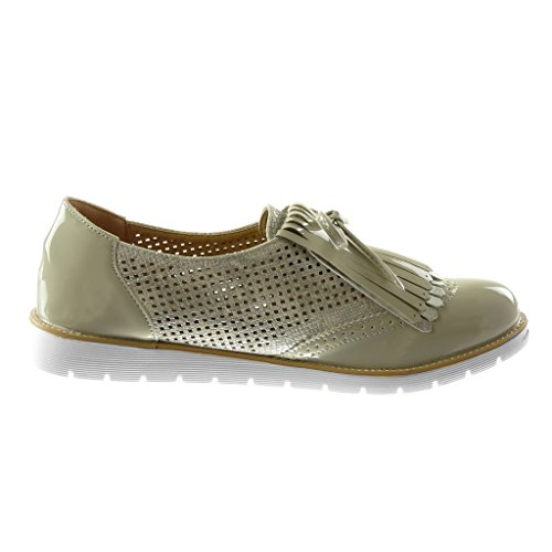 75481f19d2fccf ... Angkorly Chaussures Mode Derby Chaussure Slip-on Sneaker Semelle Femme  Frangé Noeud Perforé Coin Talon ...
