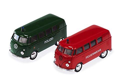 Unbekannt Sunny Toys 53707 - VW Micro-Bus Feuerwehr und Polizei mit Rückzug, 2-er Set, Circa 12 cm