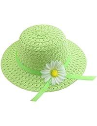 Hosaire Sombrero de Paja de Ala Ancha Verano Gorra Sombrero Anti UV Solar  para Viaje Playa para Bebé Niñas Niños(Accesorios color de la… b462c38ba32
