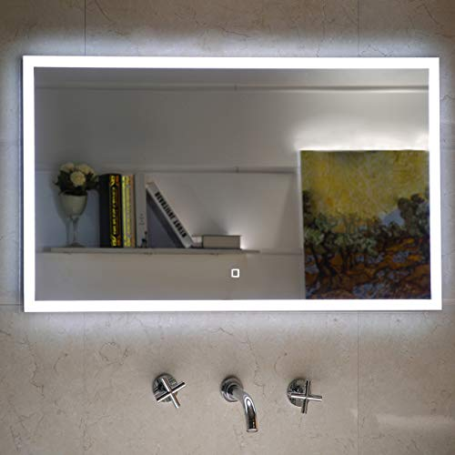 Badezimmerspiegel Badspiegel mit LED-Beleuchtung Touch-Schalter (120 x 60 cm)
