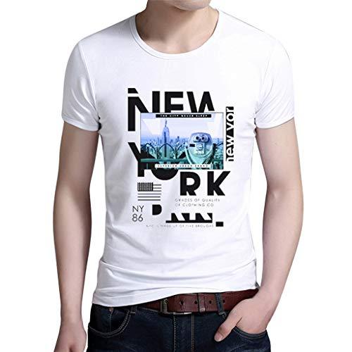 (UJUNAOR Herren Kurzarm-T-Shirt mit Brief Gedruckt Casual Rundhals Bluse Top(Weiß,CN XL))