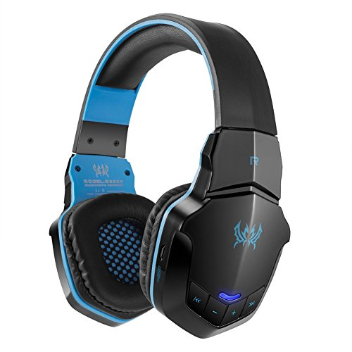 Gaming Headset Bluetooth Wireless Kopfhörer PC Kabellos 50mm Hifi Audio Microphone Eingebaut lärmschutz für Computer Laptop usw (Schwarz&blau)