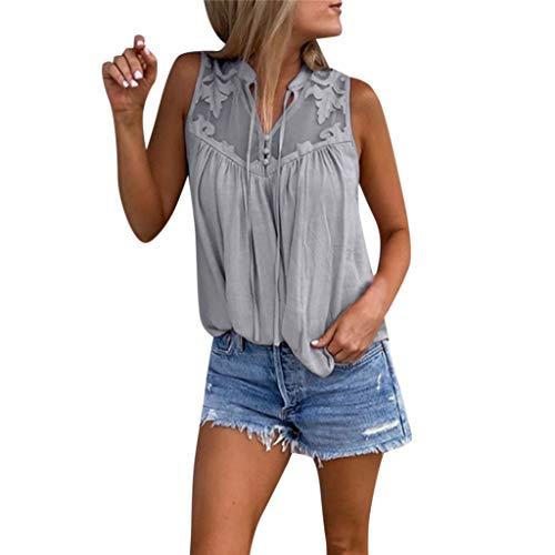 QingJiu Damen Fahsion Chiffon Stitching Lace V Ausschnitt äRmelloses Shirt Tops Bluse Womens (Large, Grau) -