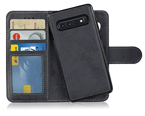 MyGadget Flip Case mit Back Cover [2 in 1] Hülle für Samsung Galaxy S10 - Magnetische PU Leder Klapphülle mit Kartenfach Schutzhülle Wallet in Schwarz (Samsung Galaxy 2 Case)