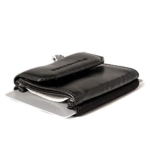 Space Wallet Push I Mini Portemonnaie für Damen & Herren I Kleine Echtleder Geldbörse I Geldbeutel & Kartenetui für 15 EC-Karten/Kreditkarten + Münzfach I Night Guard -