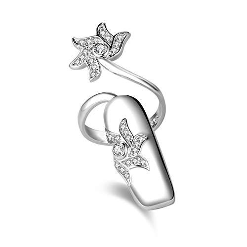 Kuke Damenring Nagelring Silber mit Zirkonia Öffnen Schwanz Ring Zeigefingerring Fingerspitzenring Fingerring Als Geschenke für Freundin Mama (NO2)