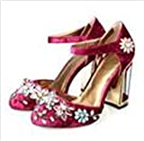 New Beading Flower Crystal Gladiator Thick super high-Heel Round Toe Limit Velvet Strange Style Women Brand Shoes L Wine Red 7.5