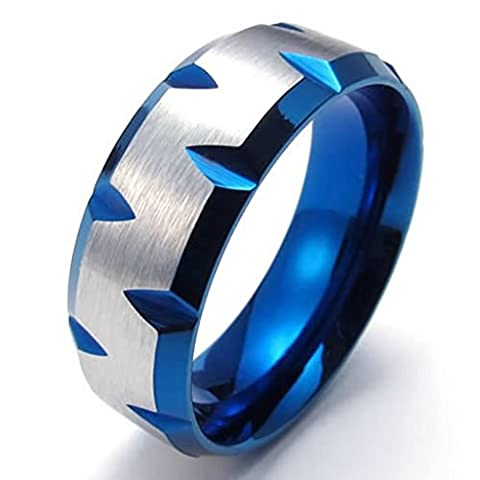 Beydodo Stainless Steel Ring (Punk Bands) Plated Faceted Edges