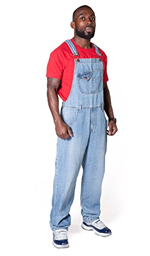 USKEES Stevie Latzhose, Loose Fit Hellblau Denim Pale Wash Blau Overall Size L