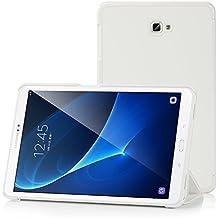 Samsung Galaxy Tab A 10.1 Funda Case - IVSO Slim Smart Cover Funda Protectora de Cuero PU para Samsung Galaxy Tab A 10.1 2016 T580N/T585N Tablet(Blanco)