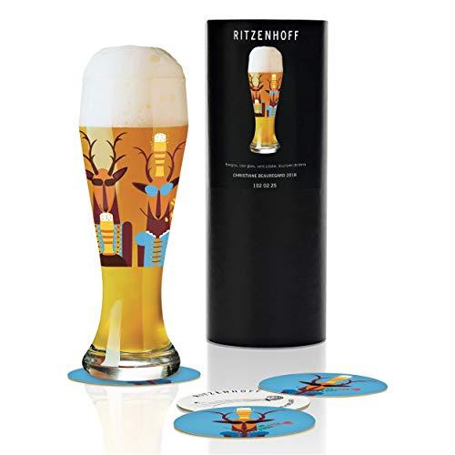 RITZENHOFF Weizen Weizenbierglas von Christiane Beauregard, aus Kristallglas, 500 ml, mit fünf Bierdeckeln