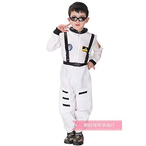 Unbekannt Halloween Kinder Stage Performance Kostüm Air Force Pilot Astronaut Flieger Spaceman Captain Kostüme One Piece Safety Strap White