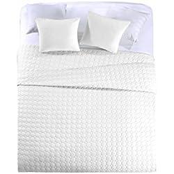 Colcha bouti blanco (200 x 255) para cama de 105 cm + funda cojin 50 x 50 cm