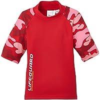 Smiling Shark Camouflage - Camiseta de natación para niña, color rojo, talla 86-92