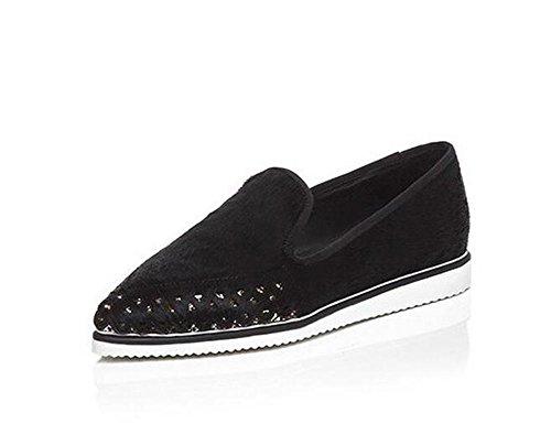 Beauqueen Flat Suede Obere Crocs Spitz-Toe Einfache Frauen arbeiten Freizeitschuhe EU Größe 34-39 Black