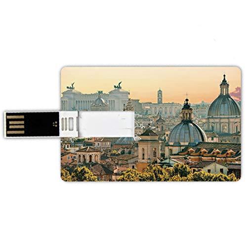 32gb chiavette usb a forma di carta di credito città memory card stile carta di credito vista di roma da castel sant'angelo italia monumento storico vaticano,pale salmon ivory green penna impermeabile