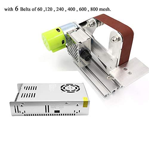 Huanyu Micro Bandschleifer Mini Desktop Grinder Elektrische DIY Sandmühle Stufenlose Geschwindigkeitsregulierung 30 mm - with 360W-24V-15A DC Motor Power Supply