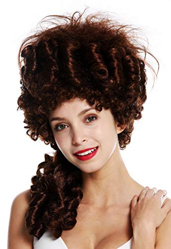 Wig me up ® - 91029-za33 parrucca donna carnevale storica barocco nobiltà mogano castano rossiccio maria antonietta pompadour acconciatura cotonata beehive 50 cm