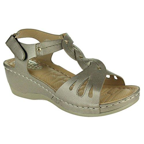 Frau Damen Offener Zeh Komfort Jeden Tag Gepolstert Atmungsaktiv Futter Weich Casual Keilabsatz Sandalen Schuhe Größe Grau
