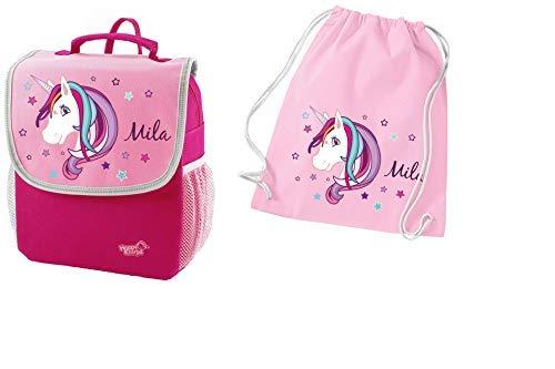 *Mein Zwergenland Set 2 Kindergartenrucksack und Turnbeutel aus Baumwolle Happy Knirps Next mit Name Einhorn Beauty, 2-teilig, Pink*