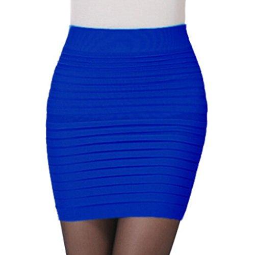 Kanpola Damen Frauen elastisches gefaltetes hohes Taillen Paket Angesagtes Kurzes Kleid Rock (Blau)