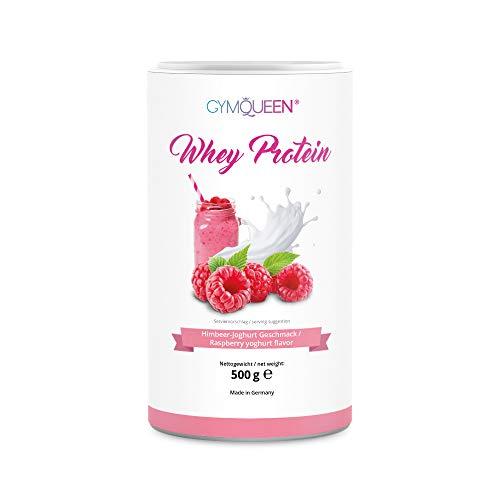 WHEY PROTEIN | Eiweißpulver | High Protein | 73g Eiweiß je 100g | proteinreicher Shake | nur 97 kcal / Portion (25g) | ohne Aspartam | GymQueen | 500g | Himbeer-Joghurt Aroma