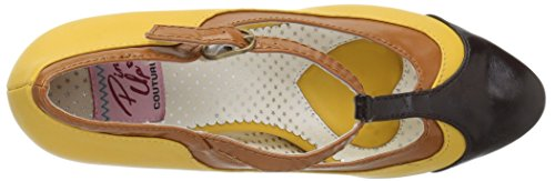 Pin Up Couture PEACH-03 Yellow Multi Faux Leather