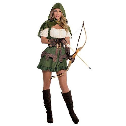 Robin hood abito stravagante da donna thief medievale donna adulti costume - verde, donna 42-44 eu