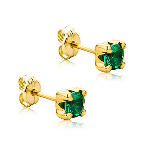Orovi Ohrringe Damen Gelbgold 9 Karat / 375 Gold Ohrstecker Solitär Smaragd