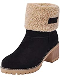 Kobay Womens Boot,Lady Fashion Winter Shoes Flock Warm Boots Martin Snow Boots Short Bootie