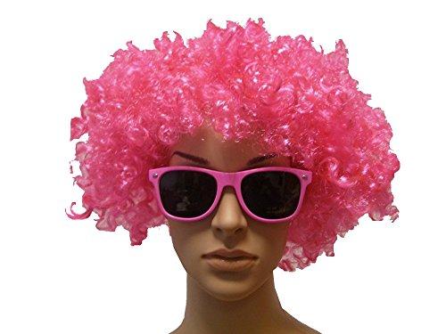Preisvergleich Produktbild Hippie Perücke in Pink + Wayfarer Sonnenbrille in Pink * Afro Karneval Fasching