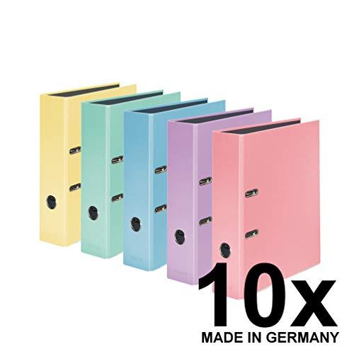 Falken 10er Pack PastellColor-Ordner 8 cm breit DIN A4 Pastell-Farbe farbig sortiert Ringordner Aktenordner Briefordner Büroordner Plastikordner Schlitzordner Motivordner