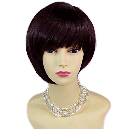 Asymmetrischer Bob kurz Braun & Burgund Damen Perücke Haut top Natürliche Haar Welliges UK