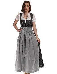 Königssee Tracht Damen Dirndl lang anthrazit Trachtenkleid Damen grau Dirndl Baumwolle
