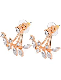 Jhinuq Fashion Gold Plated Leaf Crystal Ear Jacket Double Sided Swing Stud Earrings