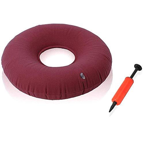 Komfort-gel-nasen-kissen (SXTYRL sitzkissen orthopädisch aufblasbar Doughnut Sitzpolster mit Pumpe zur Druckentlastung des unteren Ischias Bürostuhl, Auto, Rollstuhl und Zuhause, red)