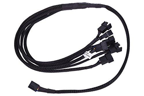 Phobya Y-Kabel 4Pin PWM auf 6X 4Pin PWM 60cm - Schwarz Kabel Lüfterkabel und Adapter