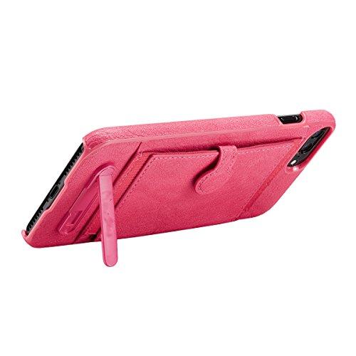 """xhorizon Vintage PU de haute qualité Portefeuille de Protection en Cuir Fermeture Magnétique Slot Carte de Crédit Support de Protection Housse Antichoc pour iPhone 7 [4.7""""] Rose rouge +9H Glass Tempered Film"""