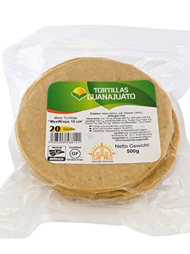 Gelbe Maistortillas Mex Wraps Guanajuato, glutenfrei, 15cm, 20 Stück (500gr.)
