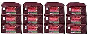 Kuber Industries™ Non Woven Saree Cover/Saree Bag/Storage Bag Set of 12 Pcs (Maroon) 90 GSM Fabric (Can Keep Upto 15 Sarees)